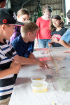 """Chickens and eggs: Students learn about the feed that chickens eat, and get to see the entire gastrointestinal tract of a chicken. Lots of """"ewww's"""" and """"ahhh's"""" at this station."""